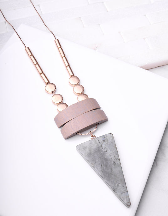 Tri Grey Wood & Stone Long Necklace