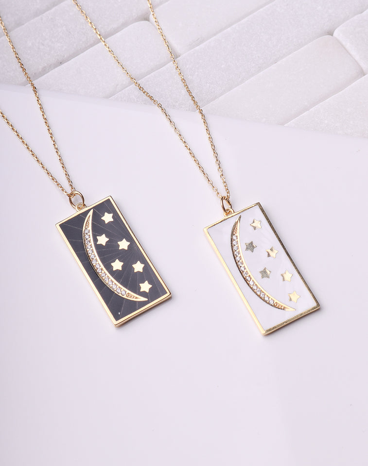 Moon & Star Enamel Necklace