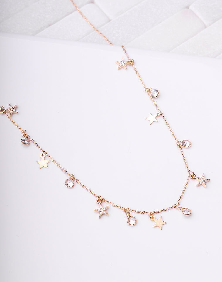 Star & Bezel Drops Necklace