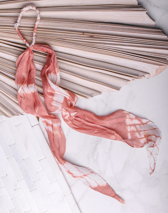 Cotton Feel Scarf Scrunchie - Pink