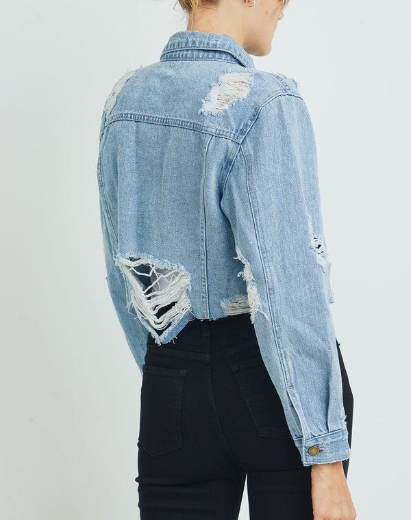 LA Destroyed Cropped Denim Jacket