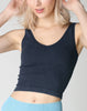 Vintage V Neck Ribbed Crop Top