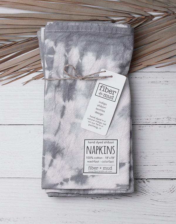 Hand Dyed Grey Cloth Napkins Set of 4