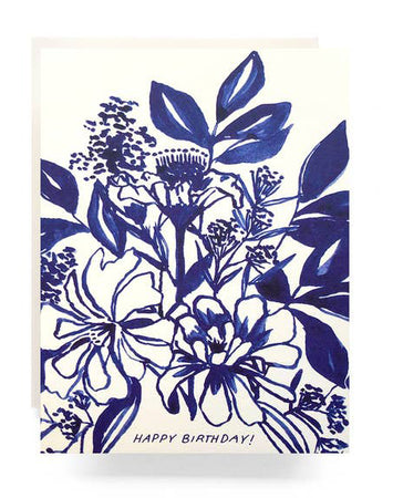 Indigo Bouquet Birthday Greeting Card