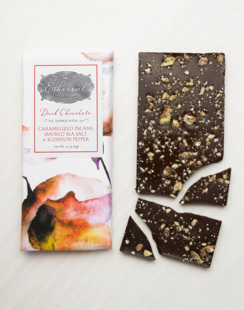 Scorpion Pepper + Bourbon + Smoked Sea Salt + Caramel Pecans Dark Chocolate