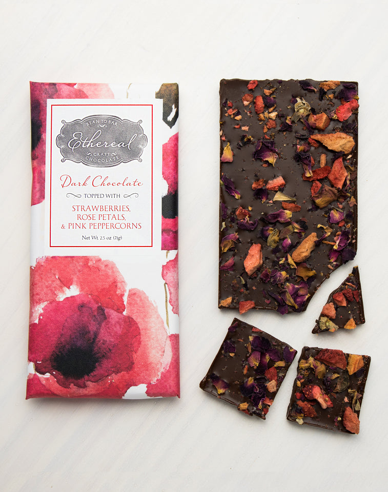Strawberries+ Rose Petals + Pink Peppercorn Dark Chocolate