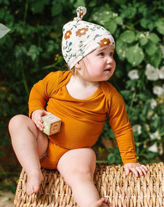 Top Knot Beanie In Tencel- Flower Vine 0-6M