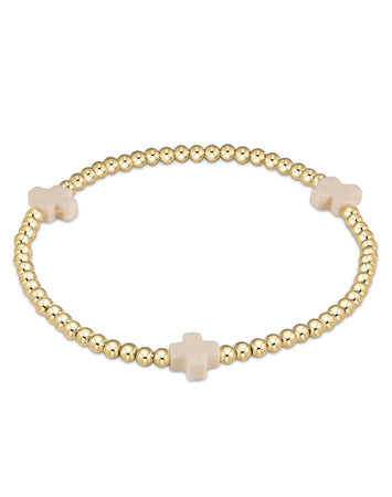 Signature Cross Gold Patteren 3mm Bead Bracelet