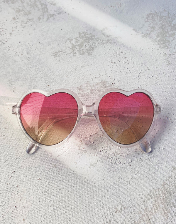 Kids Crystal Heart Sunglasses- Pink