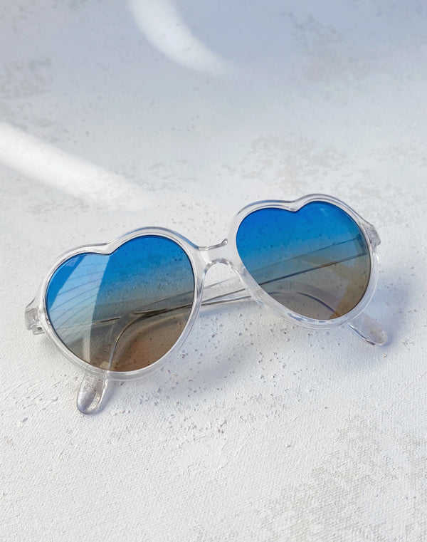 Kids Crystal Heart Sunglasses- Blue