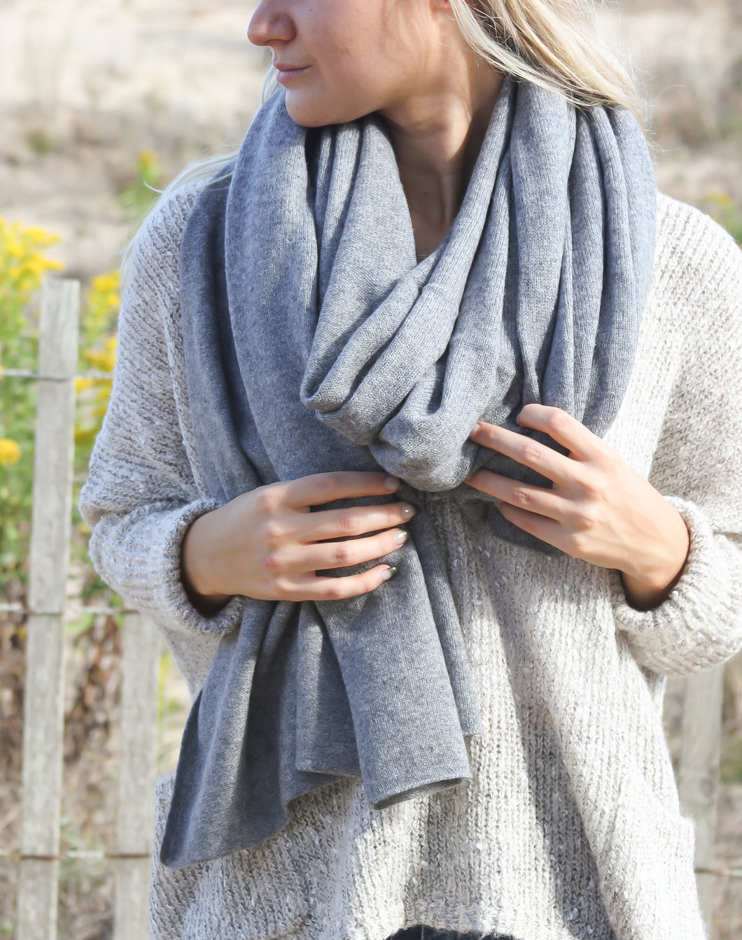 Pure Cashmere Travel Wrap Scarf - Grey