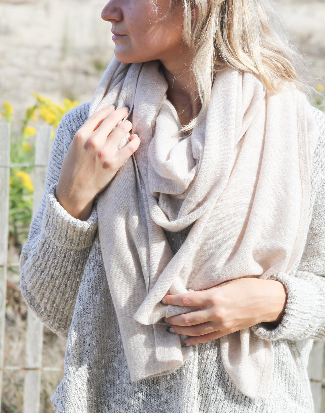 Pure Cashmere Travel Wrap Scarf - Beige