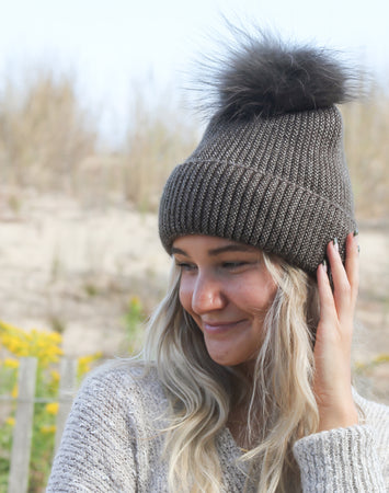 Cashmere Blended Heather Pom Hat Khaki