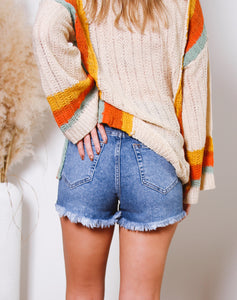 Daisy High Rise Frayed Bottom Shorts