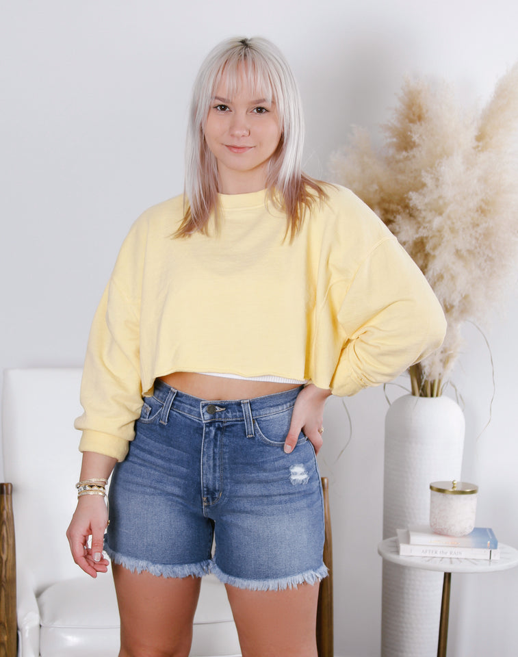 Luna Cropped Mineral Wash Pullover