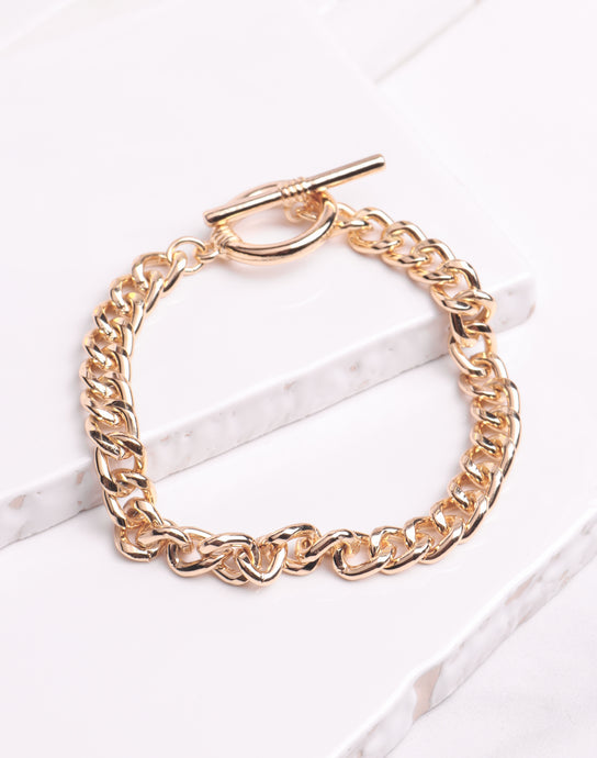 Shiny Cuban Link Bracelet - Gold