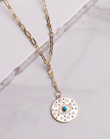 Turquoise Evil Eye CZ Disc Link Chain Necklace