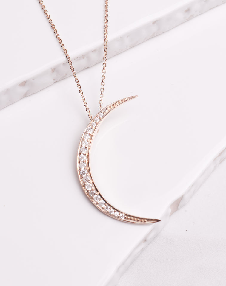 Crystal Crescent Necklace