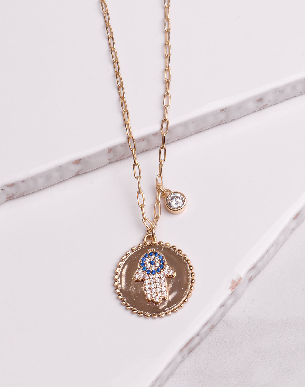 CZ Hamsa Hand Bezel Link Chain Necklace