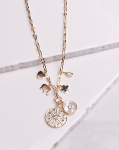 MOP CZ Lucky Charm Link Necklace