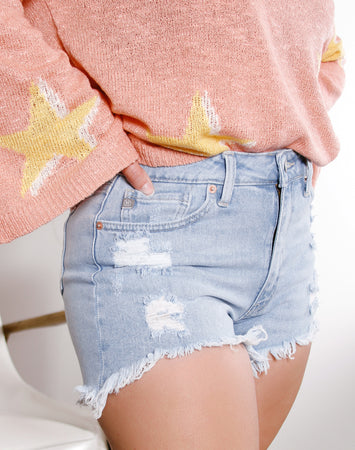Malibu Hi Lo Destroyed High Rise Shorts