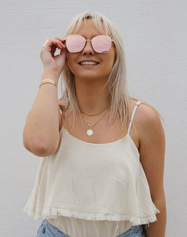 Cat Eye Aviator Sunglasses - Gold Rose Gold Lens