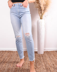 High Rise Destroyed Skinny Denim