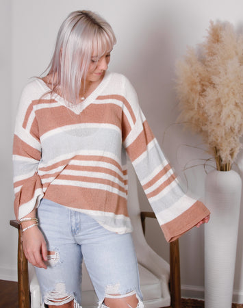Mila V Neck Stripe Sweater