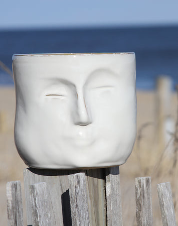 "Stoneware Planter Face White (Holds 4"" Pot)"