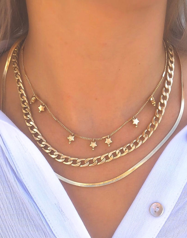 Star Chain & Snake Layered Necklace