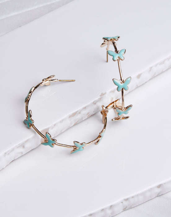 Mini Butterfly Lined Hoops Mint/Gold
