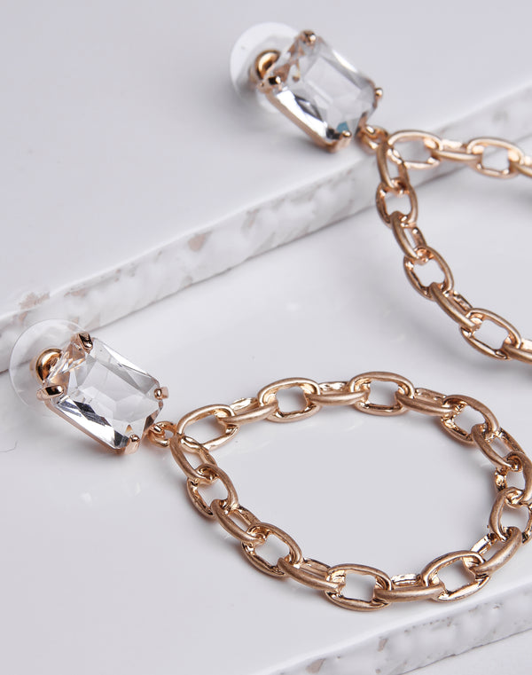 Teardrop Link Clear Crystal Dangle Gold