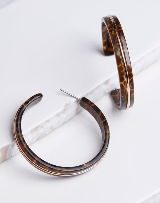 Gold Lined Dark Tortoise Hoop