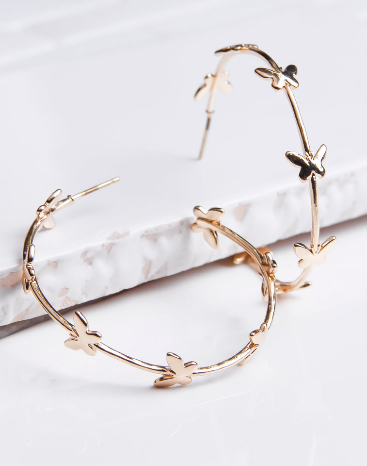 Mini Butterfly Lined Gold Hoop