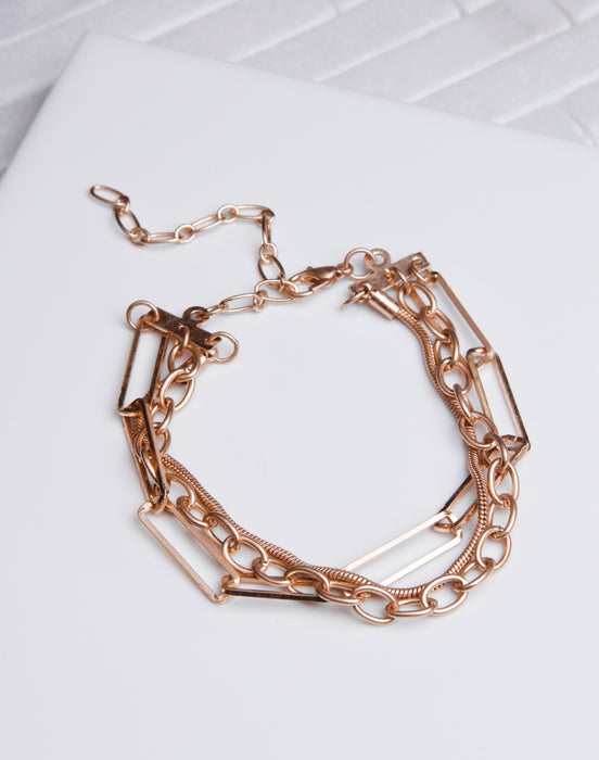 Multi Chain Brushed Gold Bracelet