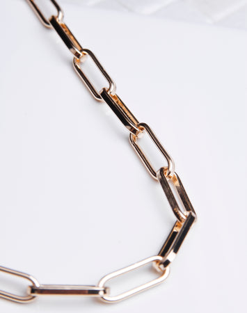 Thick Paper Clip Chain  Necklace - Gold