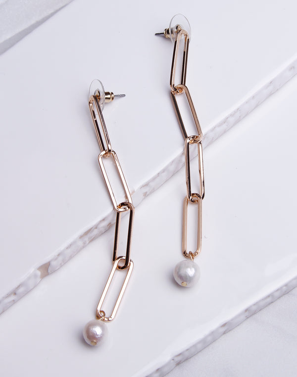 Long Link Pearl Drop Dangle Gold