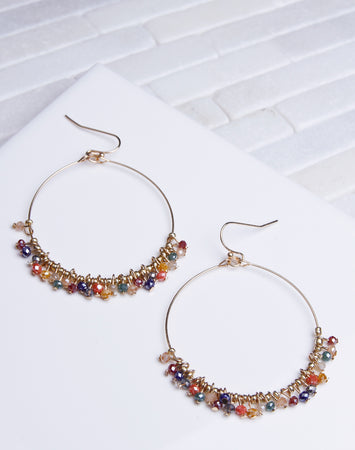 Multi Crystal Dangle Gold Hoop
