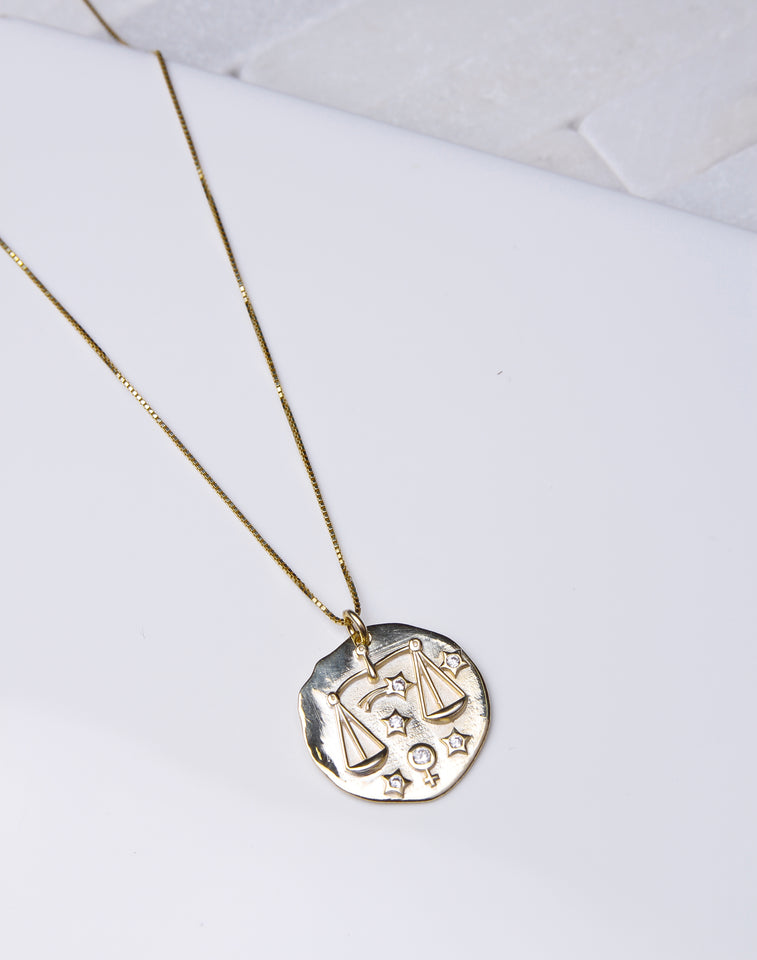 Zodiac Coin Necklace -14K Gold Vermeil