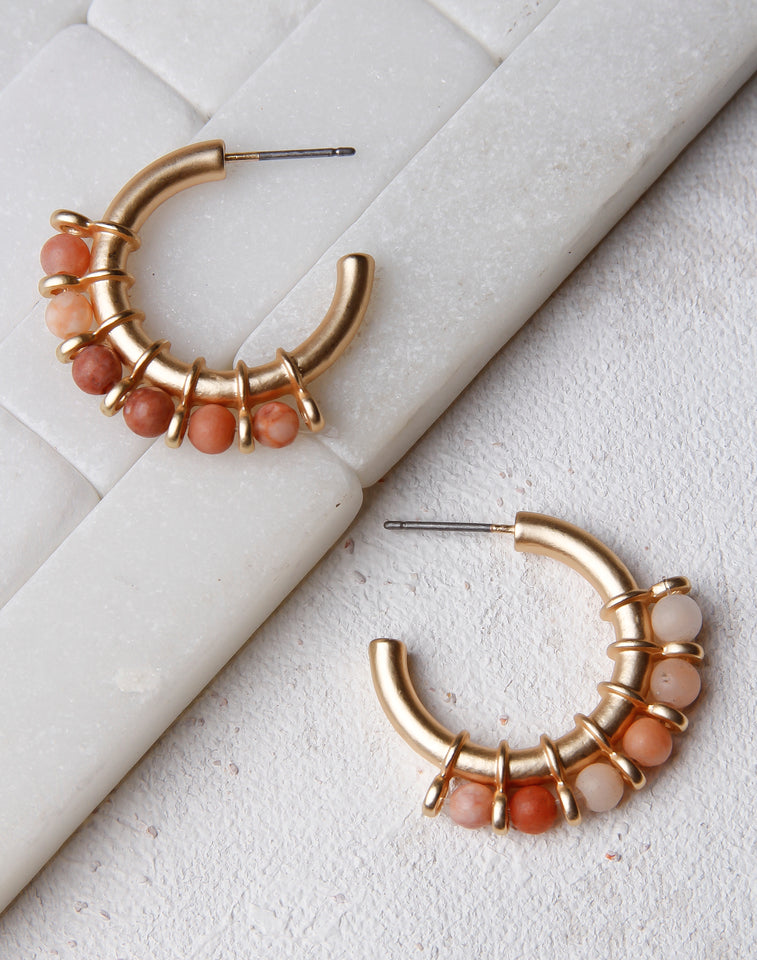 Gold Hoop With Wrapped Beads