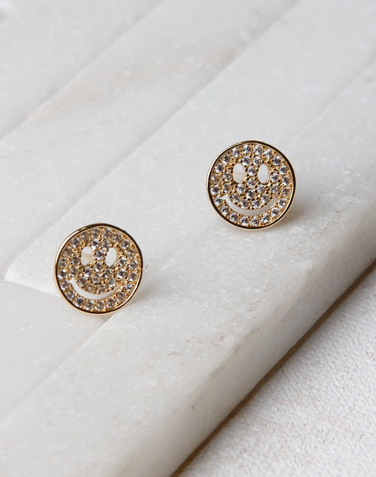 Crystal Smiley Face Stud- Gold