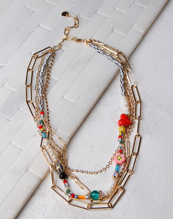 Rainbow Mix Trendy Charm Necklace- Gold
