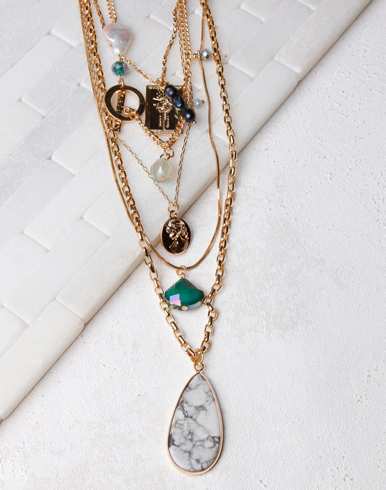 Multi Chain, Green/Pearl, White Teardrop Necklace- Gold