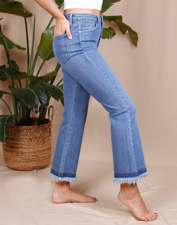 Crop Flare With Fray Denim
