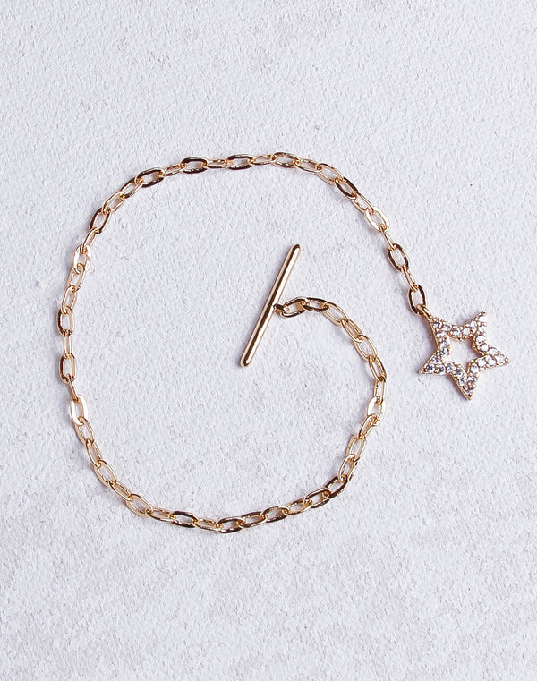 Gold Link Crystal Star Bracelet