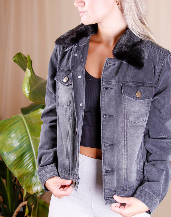 Aspen Denim Jacket with Faux Fur Collar