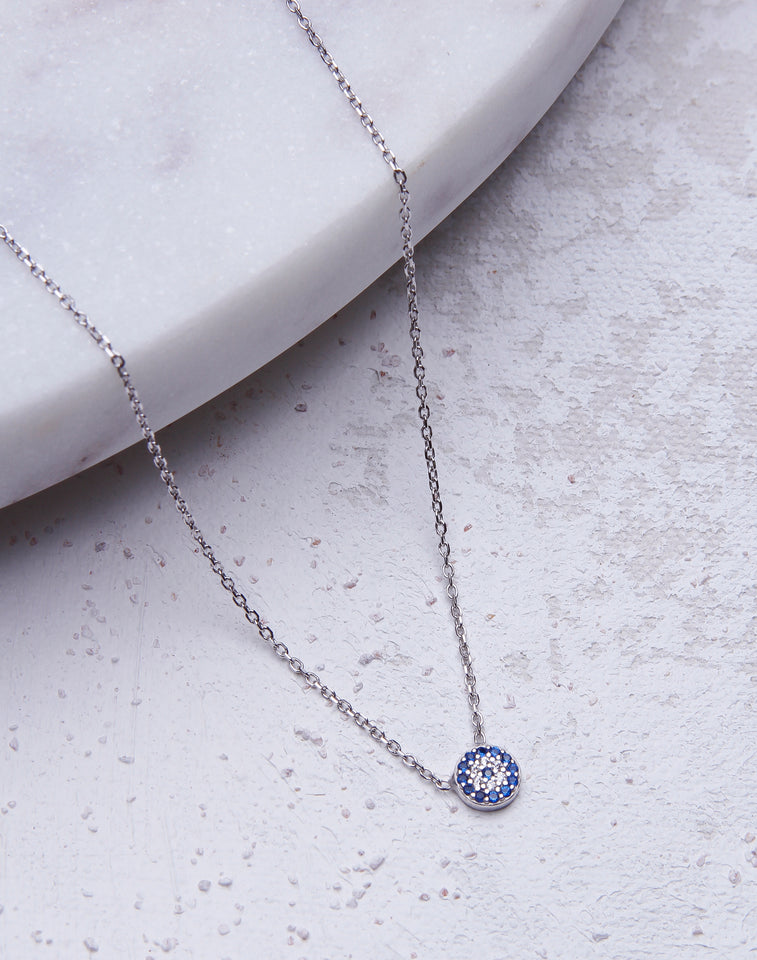 Tiny CZ Evil Eye Necklace