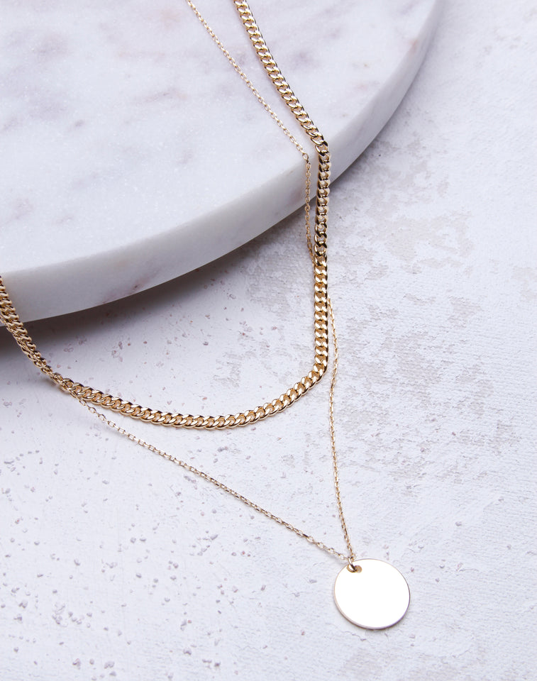 Tiny Cuban Link Layered Disc Necklace