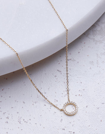 CZ Halo Necklace