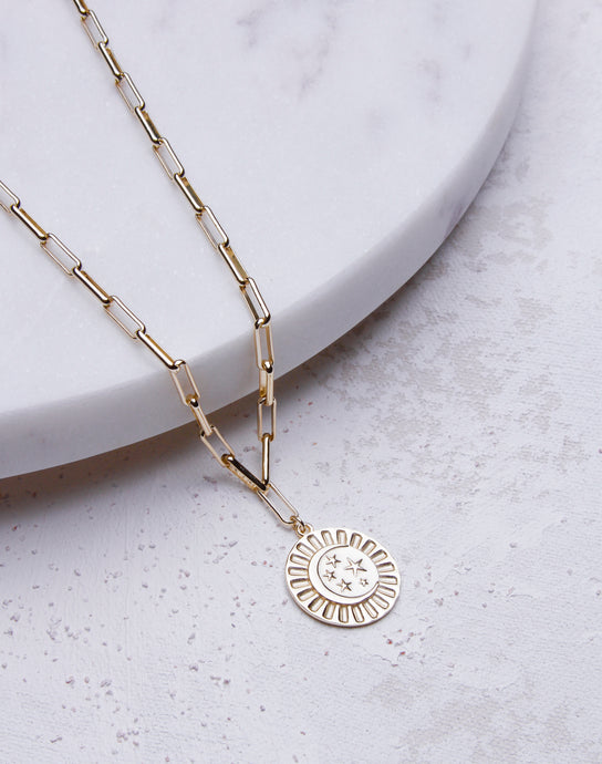 Paperclip Chain Celestrial Coin Necklace